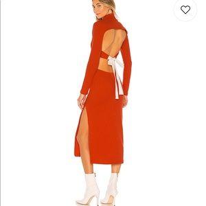 Red open back midi long sleeve sweater dress